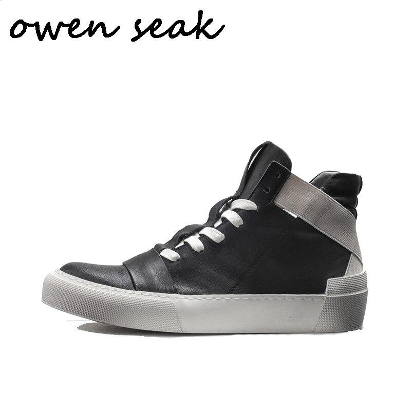 15b7975a76df18 Noir Espadrille Appartements Luxe Owen Chaussures Lacent Noir Cuir De Blanc  blanc En D'hiver Hommes Bottes Haute Cheville Formateurs Véritable ...