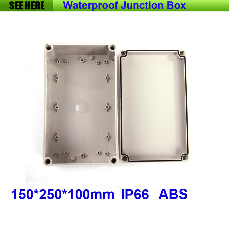 Free Shipping 1 Piece Small Type IP66 ABS Grey Waterproof plastic electrical enclosure 150*250*100mm 1 piece free shipping abs plastic
