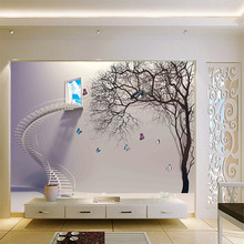 Grey Stairs Window Tree  3d Wallpaper