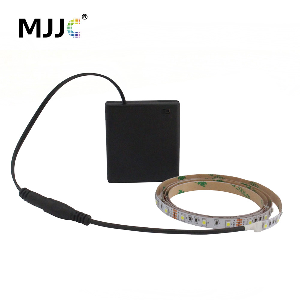 Batteridrevne LED Strip Light 50CM 1M 2M 3M Adhesive Tape Lights SMD 3528 Batteriboks Operated LED Stripe Warm Cool White