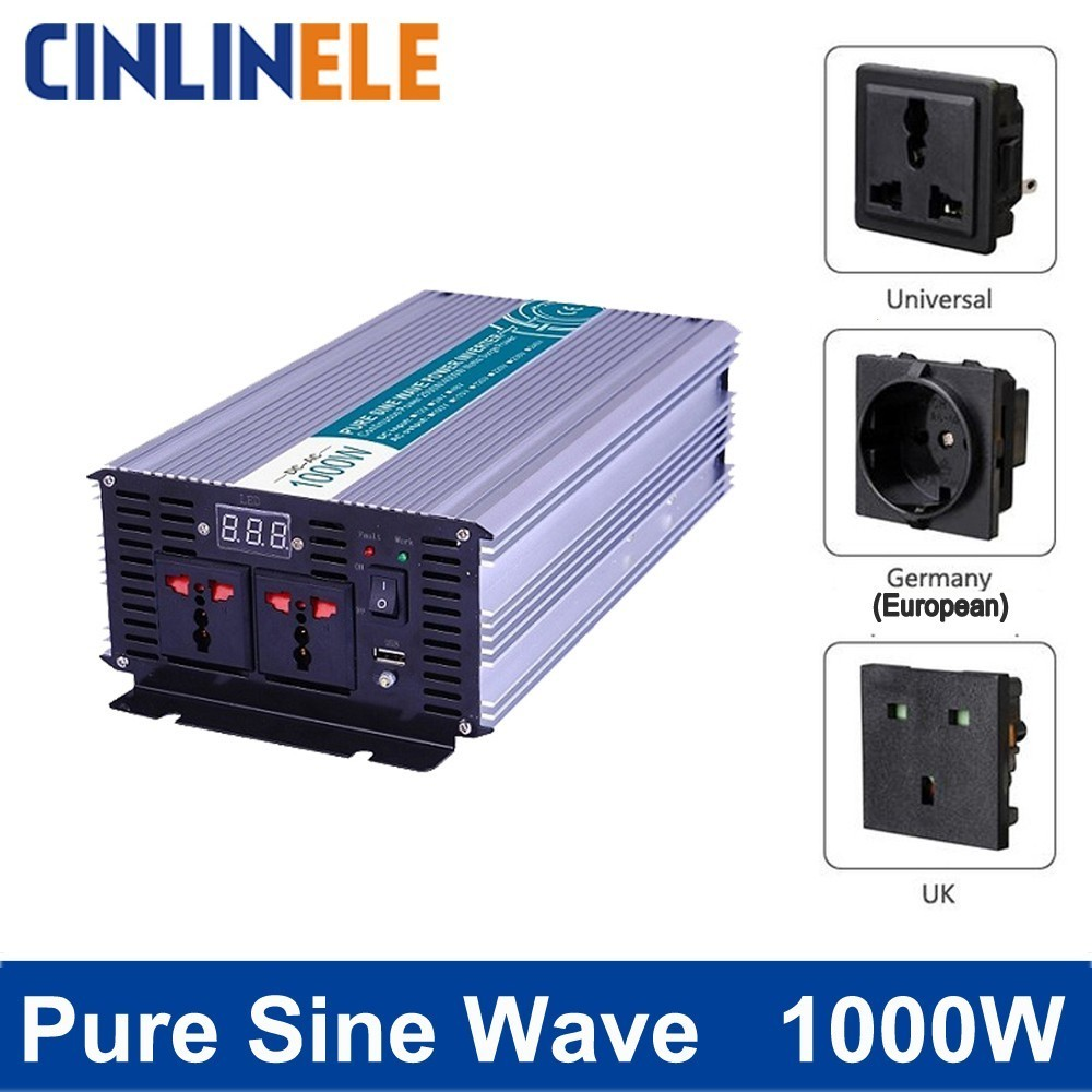 цена на Smart Pure Sine Wave Inverter 1000W CLP1000A DC 12V 24V 48V to AC 110V 220V Smart Series Solar Power 1000W Surge Power 2000W