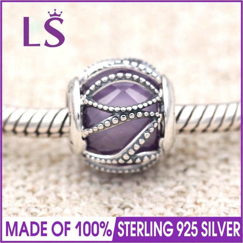 LS High Quality Real 925 Silver Purple Intertwining Radiance Charm Fit Original Bracelets Pulseira Encantos.100% Fine Jewlery