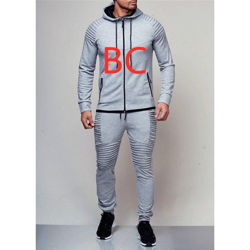 BC homme ensembles nouveaux hommes automne Hoodies survêtement ensemble mâle Zipper plissé sweat-shirt pantalons de survêtement haute rue vestes ensembles M-4XL manteau