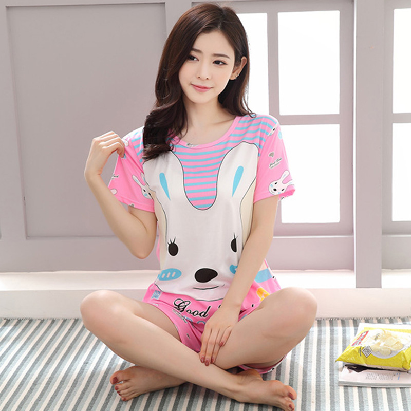 Fashion Women Pajamas Sets Summer Short Sleeve Thin Cartoon Print Cute Sleepwear Girl Pijamas Mujer Leisure Nightgown