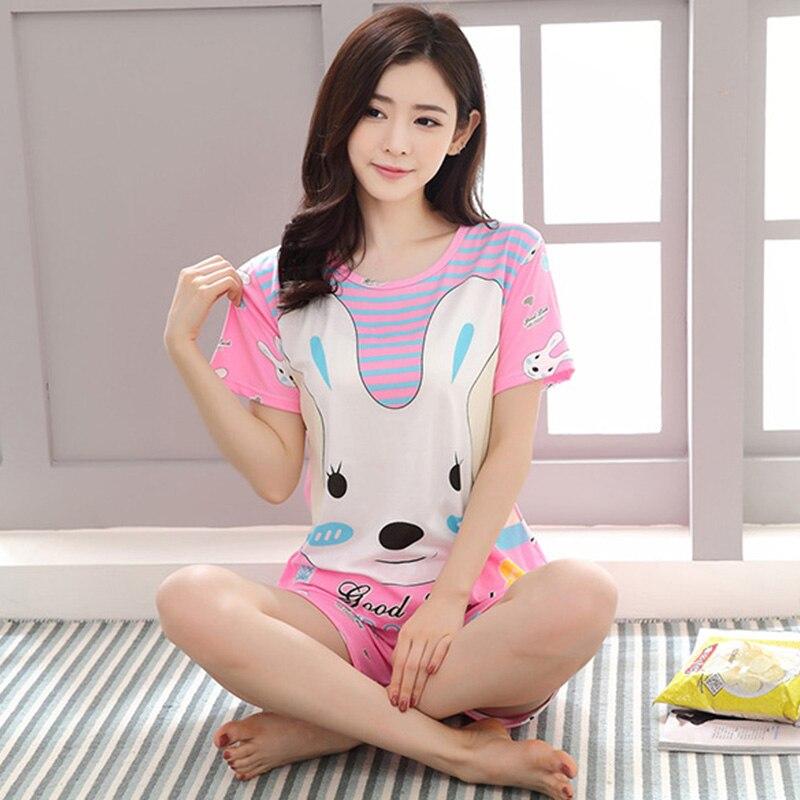 Fashion Women   Pajamas     Sets   Summer Short Sleeve Thin Cartoon Print Cute Sleepwear Girl Pijamas Mujer Leisure Nightgown
