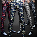 Fatigues Stage performances pants fashion mens Leisure personality men's tight PU leather pants velvet male singer slim trousers