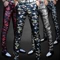 Performances de Palco uniformes calças moda de Lazer dos homens dos homens de personalidade cantor magro calças apertadas calças de couro PU calças de veludo masculino