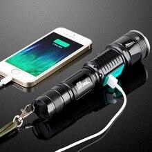 Uso de la policía militar linterna T6 impermeable de largo alcance recargable LED antorcha linterna táctica luz de la caza a caballo