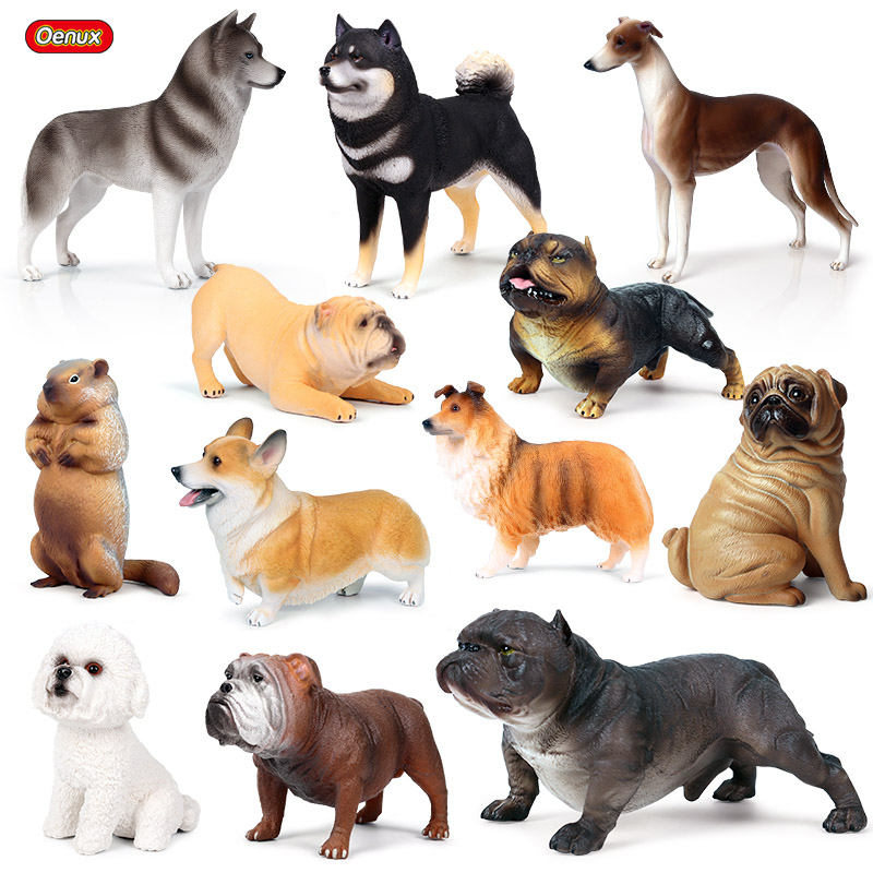 Oenux New Dog Animal Simulation Big Bully Dog Rottweiler Pug Corgi Collie Shiba Inu Bulldog Action Figures Pvc Cute Model Toys