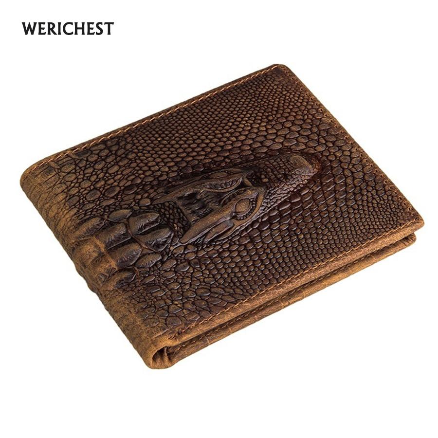 WERICHEST márka pénztárca férfi valódi bőr férfi pénztárca pénztárca rövid férfi krokodil bőr pénztárca férfi minőségi garancia Carteira