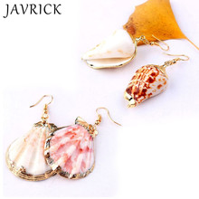 Boho Big Natural Conch Shell Drop Earrings Statement Ocean Beach Jewelry