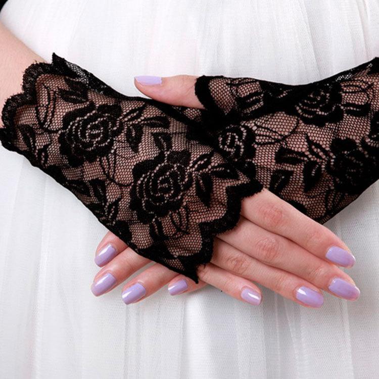 Spring Summer Chic Knit Flower Party Etiquette Fingerless Lace Gloves Women Driving Fishnet Gloves Lady Half-finger Gloves