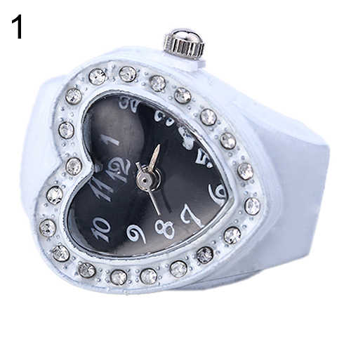 Lady Lovely Girl Silicon Heart-shaped Elastic Quartz Watch Ring Finger Presente