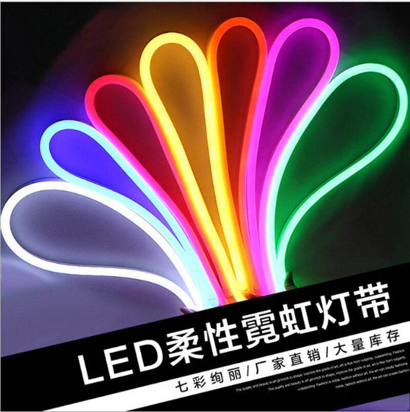 Fanlive 100m Flex Soft Light Rgb Flexible Strip Warm White Waterproof Fita De LED Tape Neon Lamp Rope Lights AC220V Ledstrips