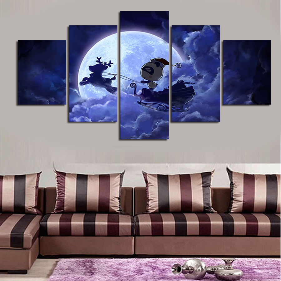 aliexpress : buy 5 panels romantic purple night canvas