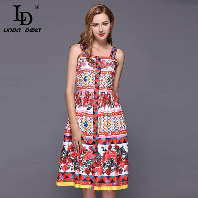 LD LINDA DELLA Elegant Rose Floral Print Button Midi Dress 2019318