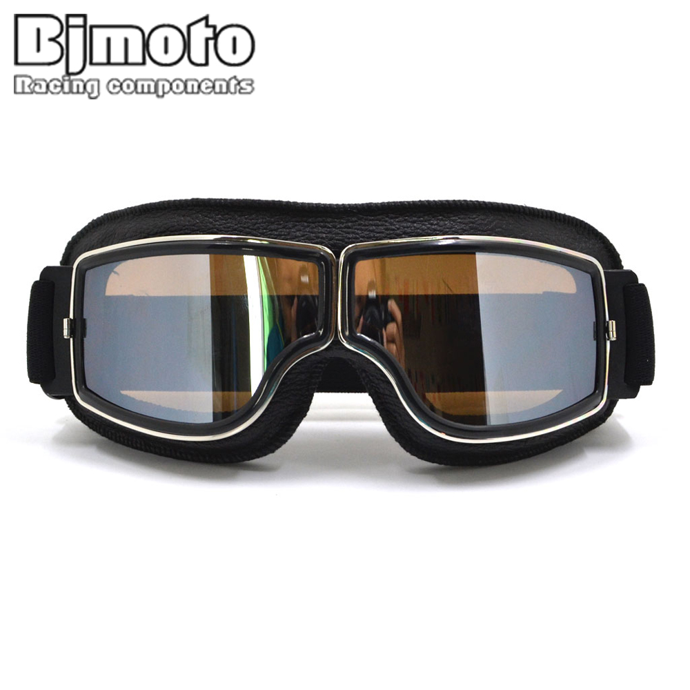 GT-011-BK-SM NEW Harley Style Motorcycle Goggles Pilot Motor Goggles Leather Retro Jet Helmet Eyewear