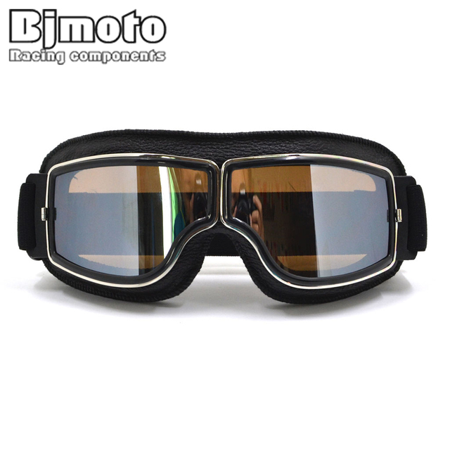 81fd3320b5 GT-011-BK-SM NEW Harley Style Motorcycle Goggles Pilot Motorbike Goggles  Leather Retro Jet Helmet Eyewear
