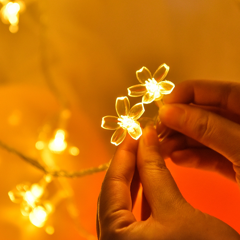 Image 2 - Cherry Blossom Flower Garland Battery Powered LED String Fairy Lights Crystal Flowers For Indoor Wedding Christmas Decors Purple-in LED String from Lights & Lighting on