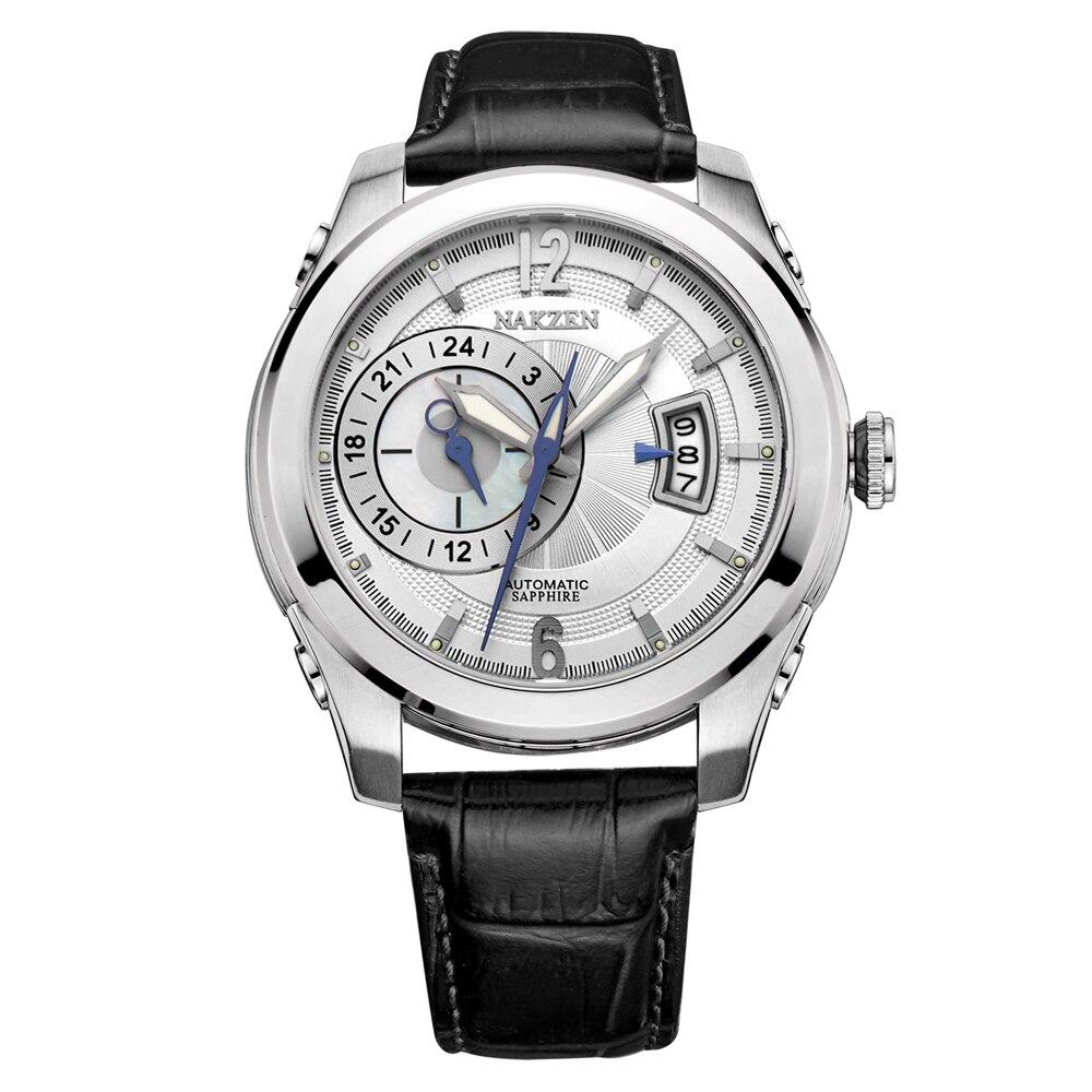 NAKZEN Miyota 8217 Homens Relógios Mecânicos Automáticos Homem de Luxo Da Marca de Safira À Prova D' Água Com Pulseira De Couro Relogio masculino