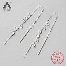 Новые модные ювелирные изделия, блестящие Кристальные серьги для женщин, кубический циркон, кисточка, 925 пробы, серебро, висячие серьги, высокое качество