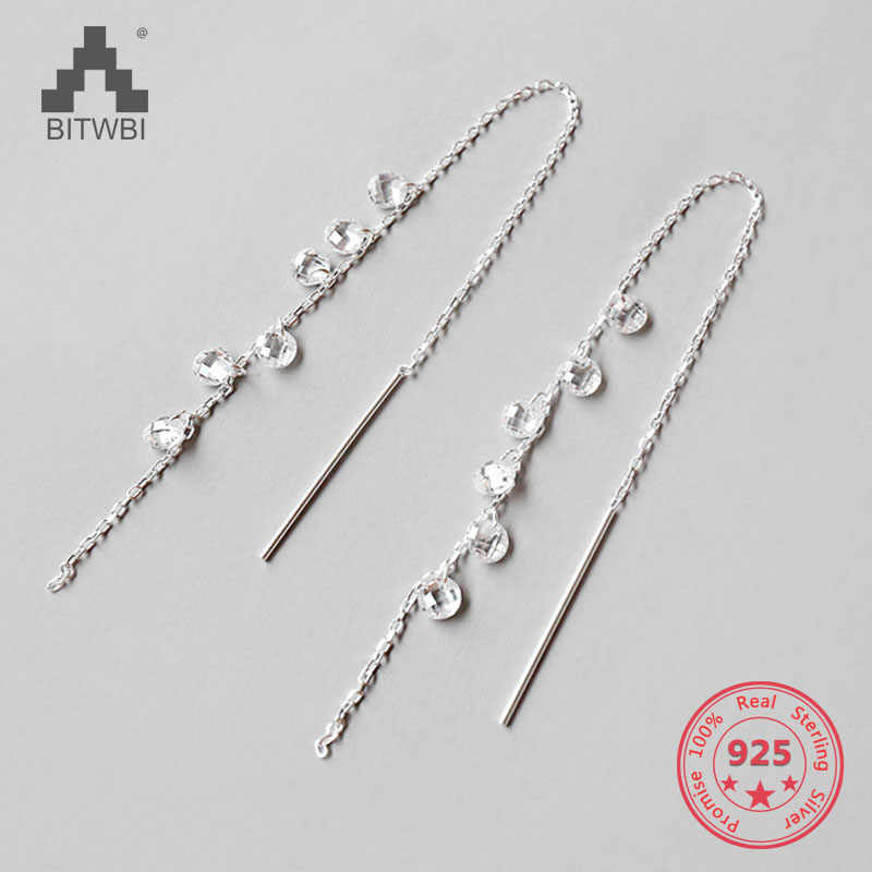 The New Fashion Jewelry Shining Crystal Earrings For Women Cubic Zircon Tassel 925 Sterling Silver Dangle Earrings High Quality