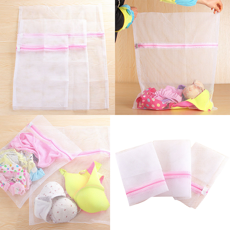 Urijk Underwear Laundry Bags Zippered Foldable Nylon Bra Socks Underwear Clothes Washing Machine Protection Net Mesh Bags
