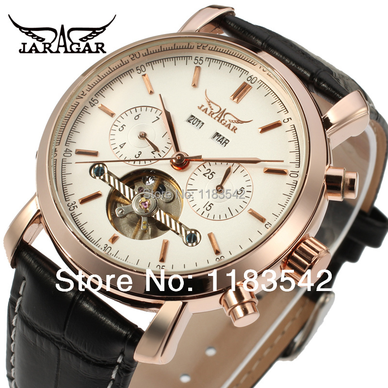 лучшая цена Top quality Jargar new Automatic men tourbillon dress watch with black leather strap shipping freeJAG540M3R3