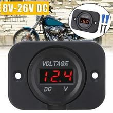 For Car ATV SUV Boat 1PC 12V-24V Red LED Digital Voltmeter Panel Motorcycle Voltage Meter Gauge Mayitr