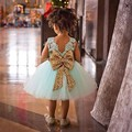 Children Baby Girl Clothing Sequins Party Ball Gown Mini Dress Summer Kids Sleeveless Princess Bow Mesh Tutu Dresses