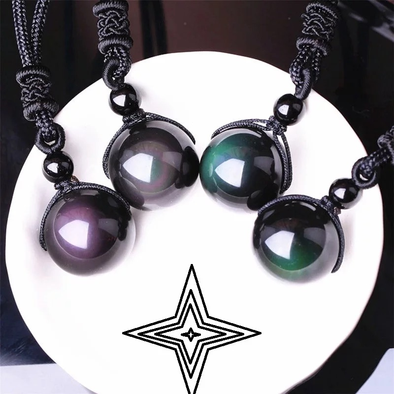 100% Natural Rainbow Obsidian Eye Necklaces for Woman Bead Transfer Good Luck Pearl Pendant Rope Chain Necklace Handmade Jewelry