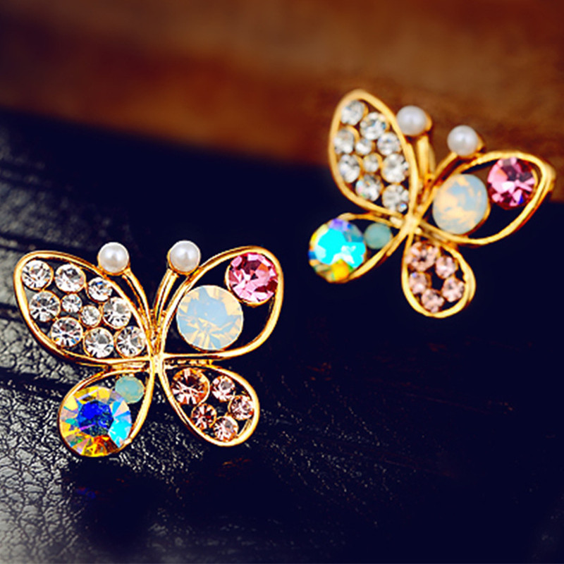 ES436 Fashion Jewelry Stud Earrings Crystal Butterfly Animal Brincos For Women pendientes mujer HOT Sale