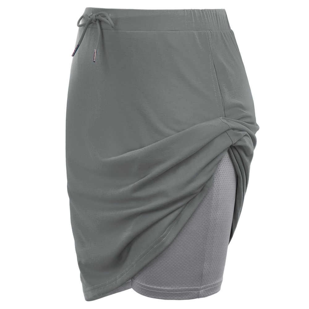 JS kobiety spodenki sportowe sznurkiem W pasie elastyczna Knitting Culotte Skort W siatki letnie podszewka spodenki gorąca sprzedaż wysokiej jakości