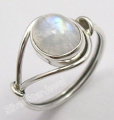 Plata real original oval Rainbow Moonstone bestseller anillo cualquier tamaño nuevo