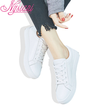 2019 Spring Round Toe White Shoe Women Sneakers Brand Designer Split Leather Casual Lace-up Flat Shoes For Nysiani