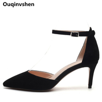Ouqinvshen Pointed Toe Black Jelly Shoes Woman Stiletto Casual Buckle Kid Suede Summer Sandals Fashion Party Women Heels 7CM 9CM