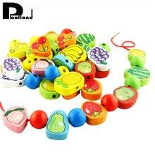 1Set Wooden Lacing Beads Animals Stringing Game Blocks Toys Heart Shape Box Educational Mixed Number Fruit