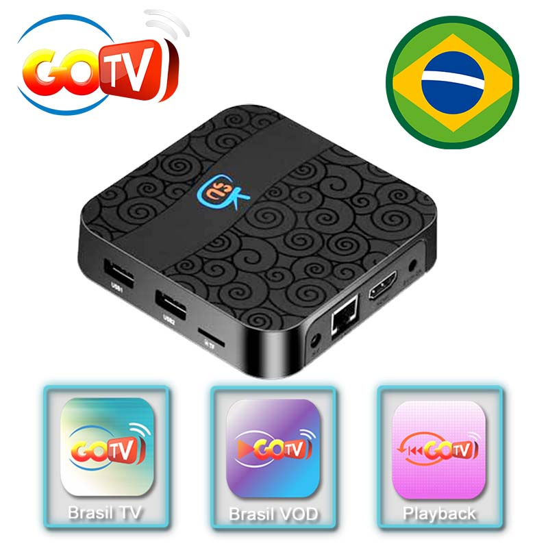 2 year service free,IPTV BOX GOTV OS Android 7 1 2 LIVE TV+VOD 4K+playback  TV BOX BRAZIL Chile LATINO AMERICA IPTV BOX