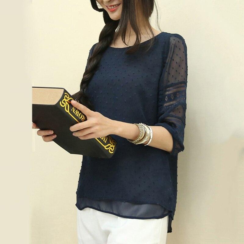 Women Shirt 2018 Chiffon Blouse Half Sleeve O-Neck Lace Casual Blusa Tops Plus Size 5XL Korean Hollow Blouses 1