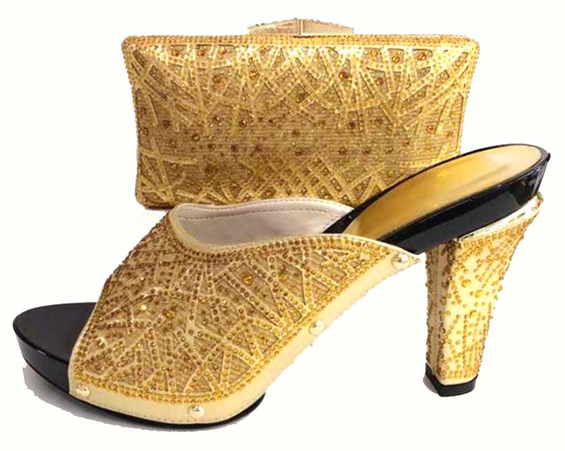 4.3 inches high heel hand made gold shoes and bag to match for african lady aso ebi shoes and bag set new italian shoes SB8173-2 italian made simple