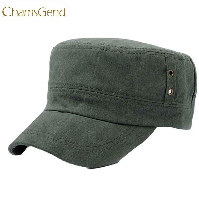 Chamsgend Neu Design Herren Casual Vintage Hut Loch Design Flat Top Military Caps 160719 Drop Verschiffen Militärhüte