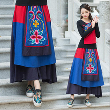 National Wind Embroidery Flowers Skirts Casual A-line High Waist Skirts Womens