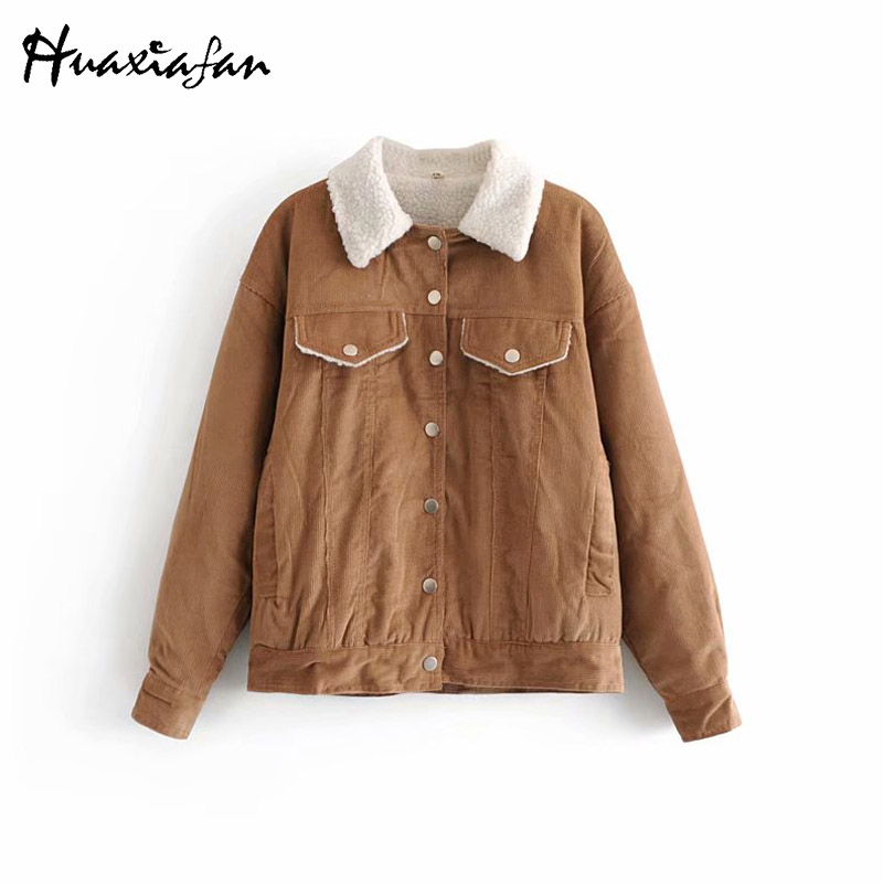 Huaxiafan Solid Corduroy Pockets Thick   Jacket   women Single Breasted Coat top 2018 Fashion autumn winter   basic     jacket   outwear