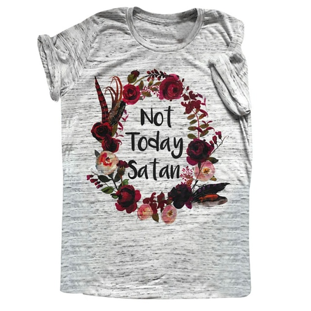 460fb8c6 The Original Floral Wreath Not Today Satan Shirt Workout TShirt Mom Tee  Shirt Boho Tee Gift For Her Mother's T-Shirt Boho Shirts