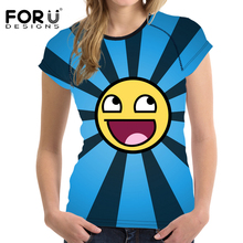 FORUDESIGNS 3D Emoji Pattern Women Summer T shirts Brand Clothes O Neck Elastic Woman Tshirts Short Sleeved Shirts Girls Mujer