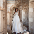 Lebanon Design Short Cap Sleeve Lace Satin Wedding Dresses Low Back High Quality Factory Custom Made Bridal Gown