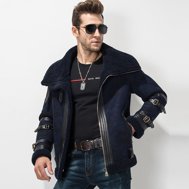 Men S Shearling Coat Blue Color Flight Jacket 100 Genuine