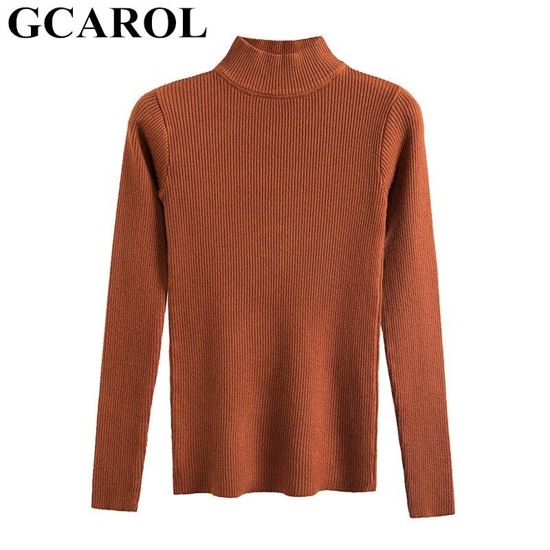 GCAROL 2019 nouveau Unif chandail col montant tricoté hauts Sexy serré Stretch tricot pull femmes tricoté printemps automne hiver pull