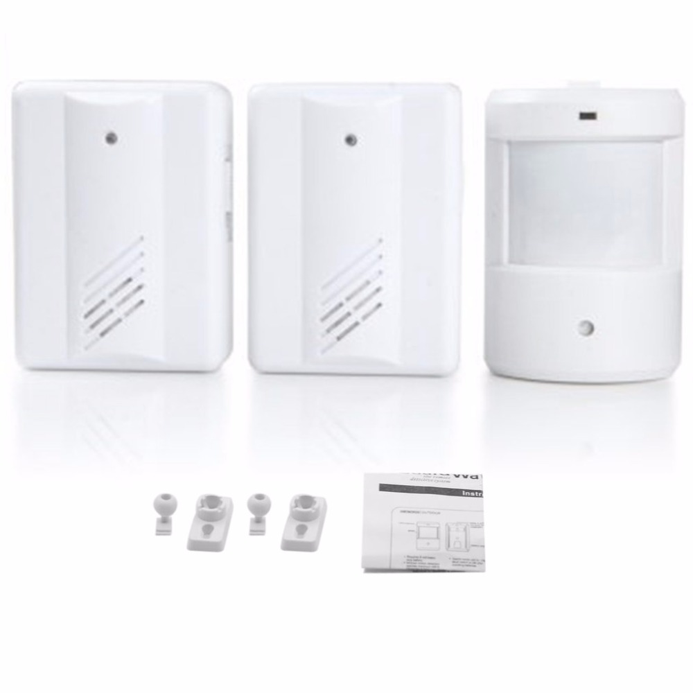 Home Wireless Doorbell Kit 1 Transmitter + 2 Receivers Infrared Sensing Battery Powered Electronic Door Bell Set infrared detection automatic door 2012 latest competition kit electronic product assembly and commissioning test