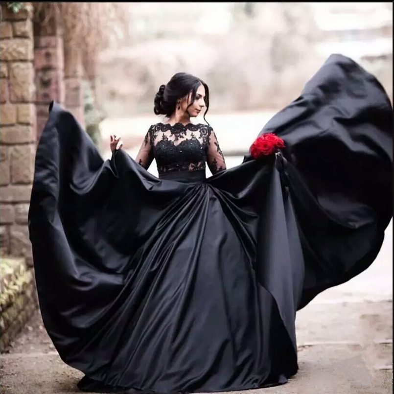 Black Lace Wedding Gowns: Lustrous Black Satin Muslim Arabic Wedding Gowns Sequined